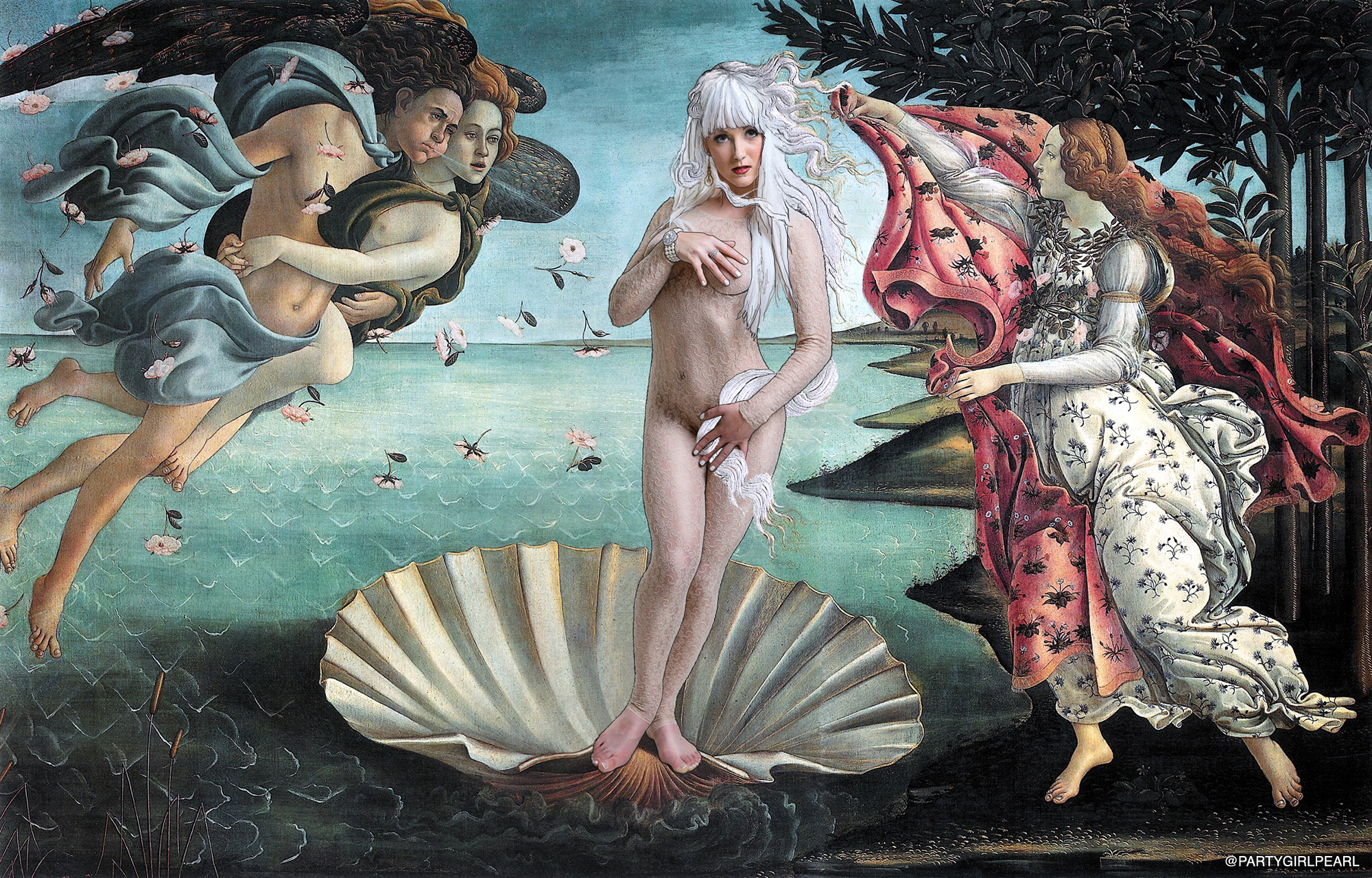 """The Birth of Pearl"" remix of Botticelli's painting from the Italian Renaissance"