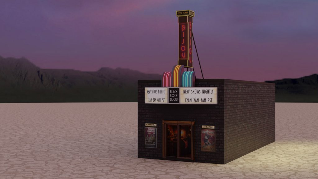 Rendering of an art deco theater with a neon marquee, at sunset in a desert landscape.